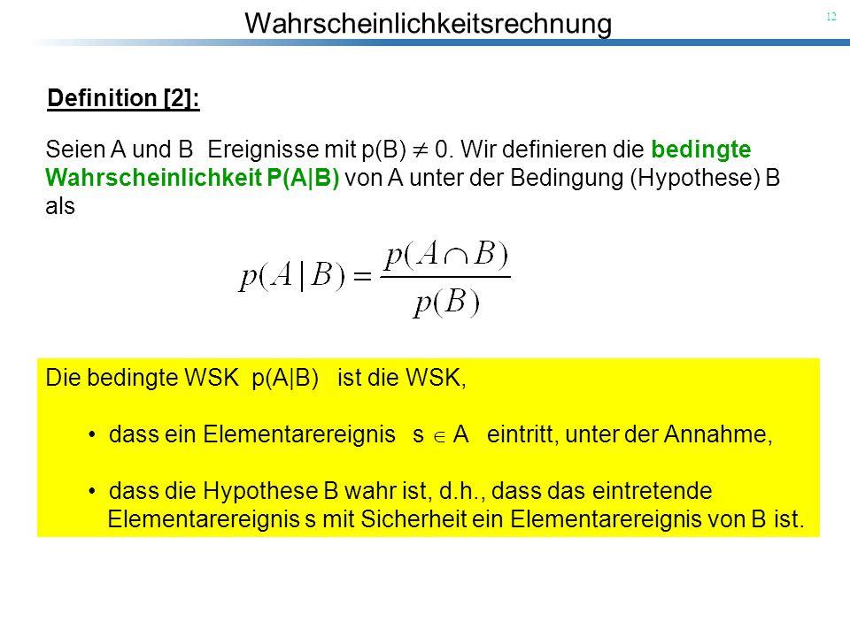 Definition [2]: Seien A und B Ereignisse mit p(B)  0. Wir definieren die bedingte.